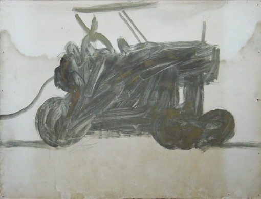 Tractor 4, mixed inks on paper, 1988