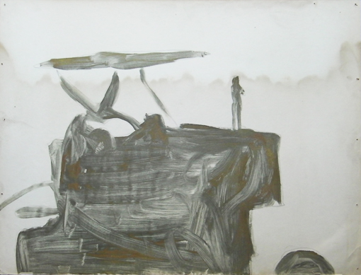 Tractor 6, mixed inks on paper, 1988