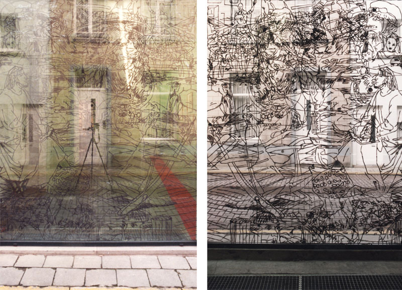 Drawings on the window of Voorkamer