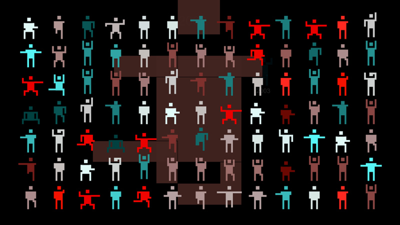 Neon people, Computer animation, 2003